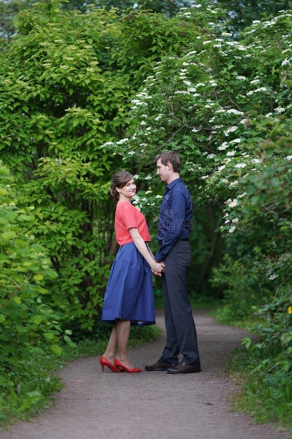 Vrij Kaukasisch liefdepaar die in het groene de zomerpark lopen, die glimlachen, kussen en omhelzingen hebben stock fotografie
