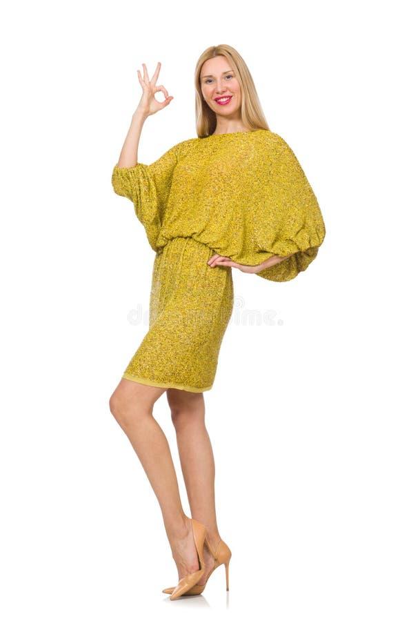 Vrij lange geïsoleerde vrouw in gele kleding stock afbeeldingen