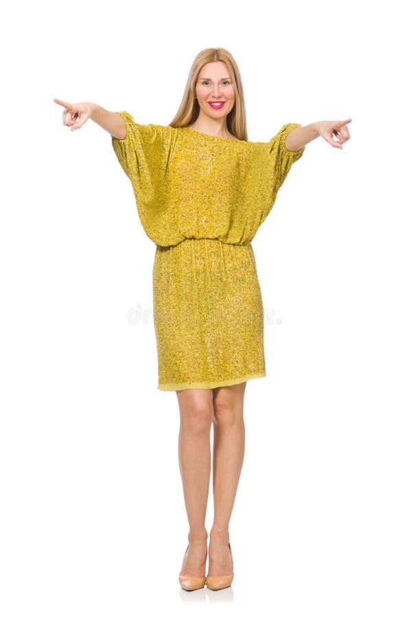 Vrij lange geïsoleerde vrouw in gele kleding stock fotografie