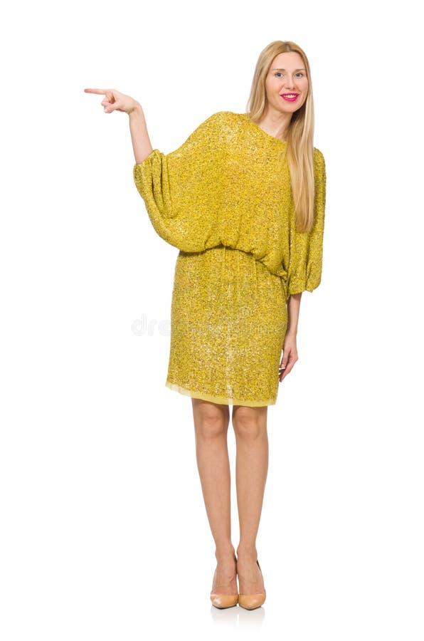 Vrij lange geïsoleerde vrouw in gele kleding royalty-vrije stock afbeeldingen