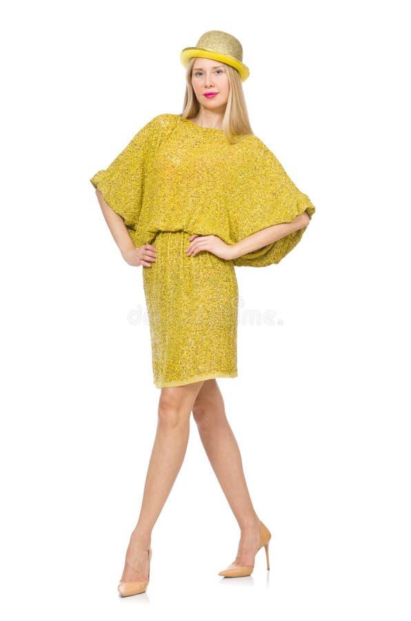 Vrij lange vrouw in gele die kleding op wordt geïsoleerd royalty-vrije stock foto