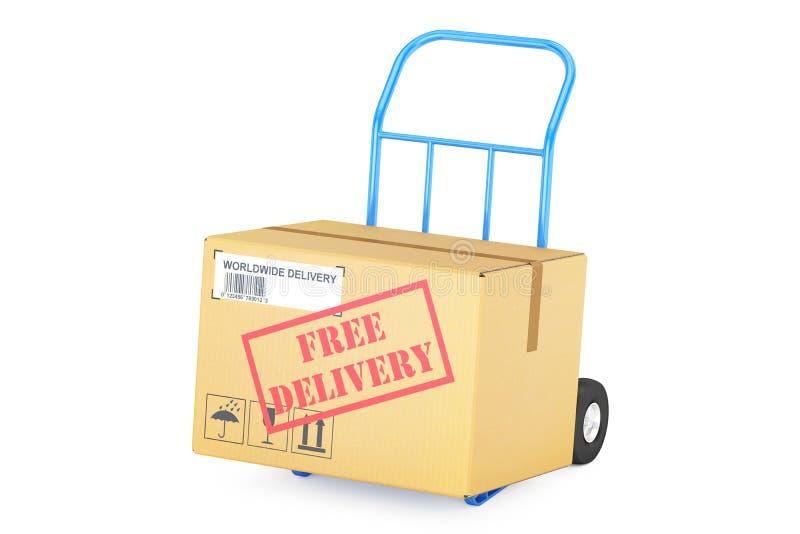 Vrij leveringsconcept Kartondoos op Handvrachtwagen, het 3D teruggeven stock illustratie
