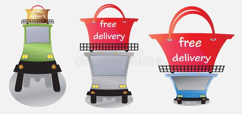 Vrij leveringswoord en Ladingsvrachtwagen royalty-vrije illustratie
