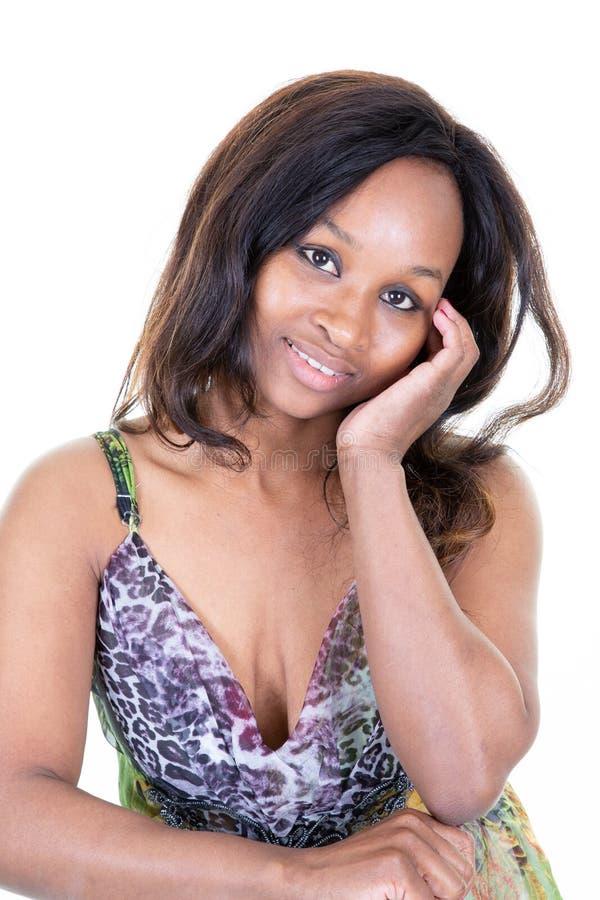 Vrij nadenkende peinzende Afrikaanse vrouw royalty-vrije stock foto