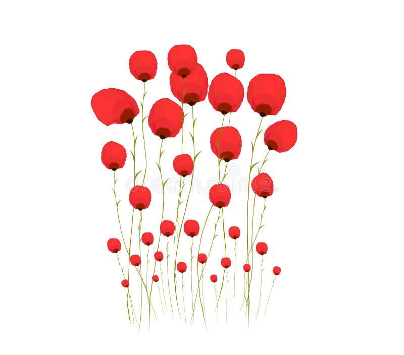 Vrij rode bloem watercolour stock illustratie