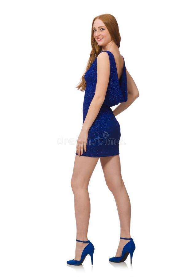 Vrij rood geïsoleerd haarmeisje in blauwe kleding stock afbeelding