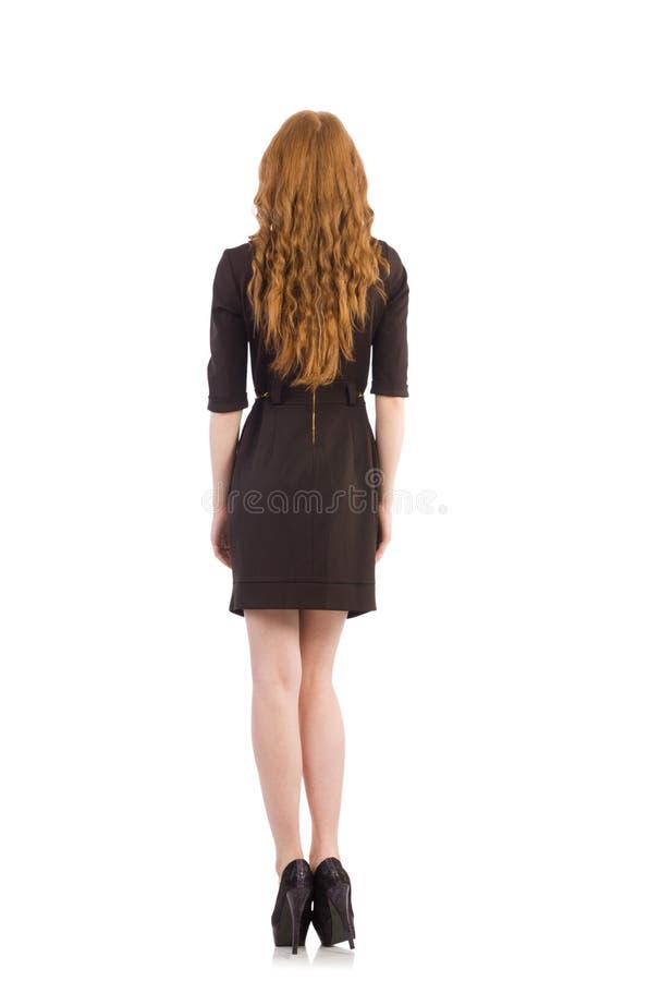 Vrij rood geïsoleerd haarmeisje in bruine kleding stock fotografie