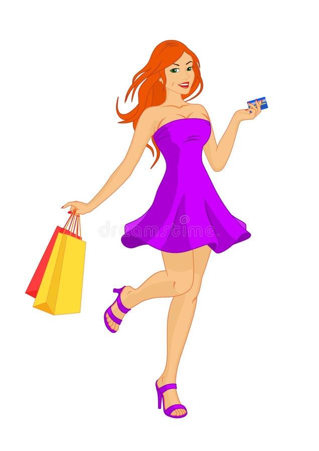 Vrij roodharige vrouw bij het winkelen royalty-vrije illustratie