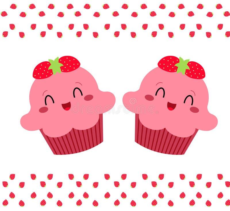 Vrij roze cupcakes vector illustratie