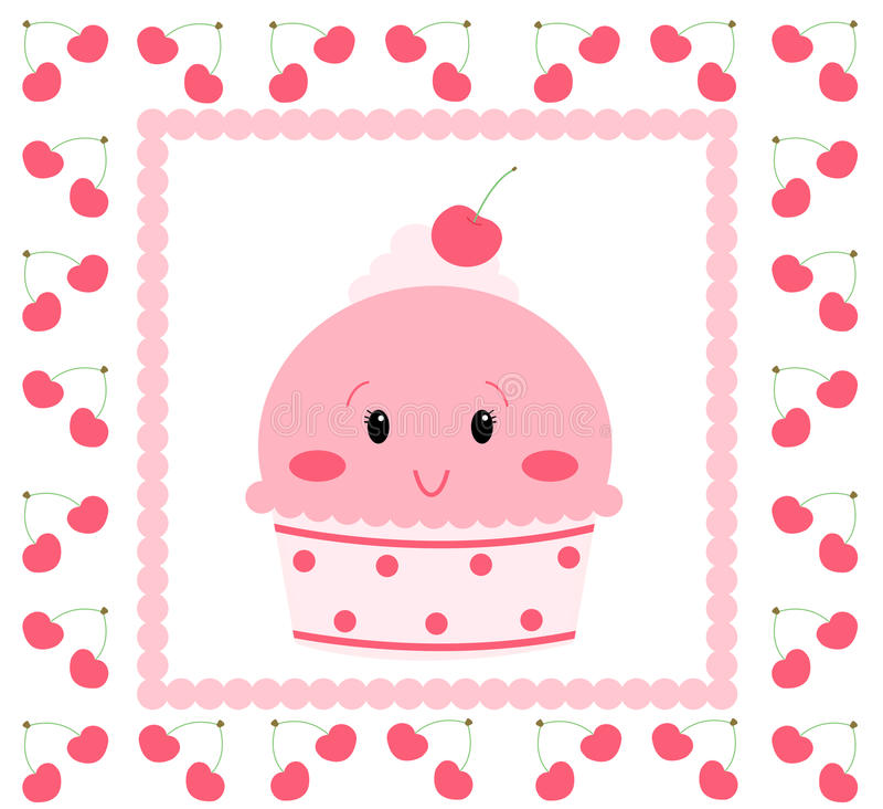 Vrij roze roomijs vector illustratie