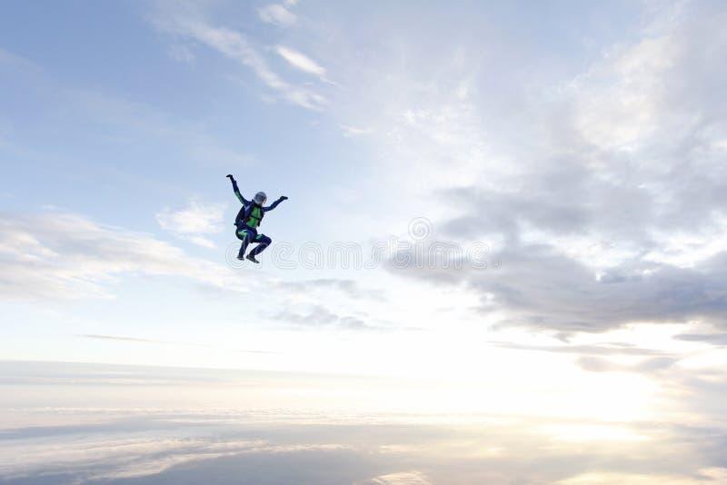 Vrij slag het skydiving Het meisje vliegt in de hemel royalty-vrije stock afbeeldingen