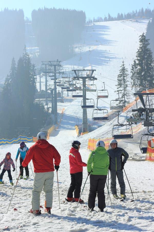 Vrij slag op een ijzige zonnige dag in de Karpatische Bergen royalty-vrije stock afbeeldingen