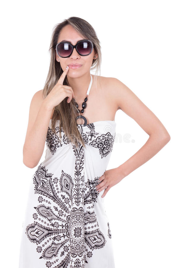 Vrij Spaans meisje in de zomerkleren stock foto