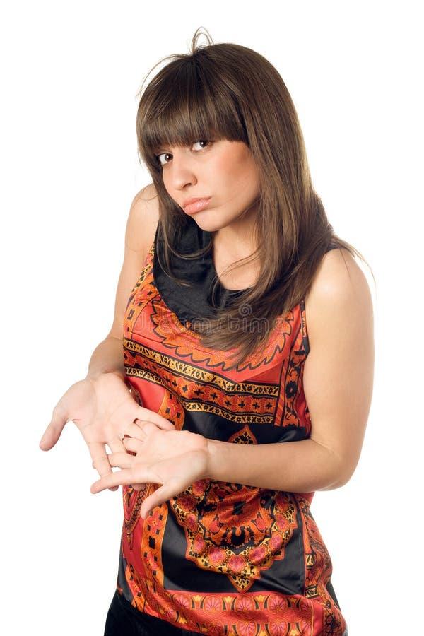 Vrij teleurgestelde Kaukasische vrouw stock afbeelding