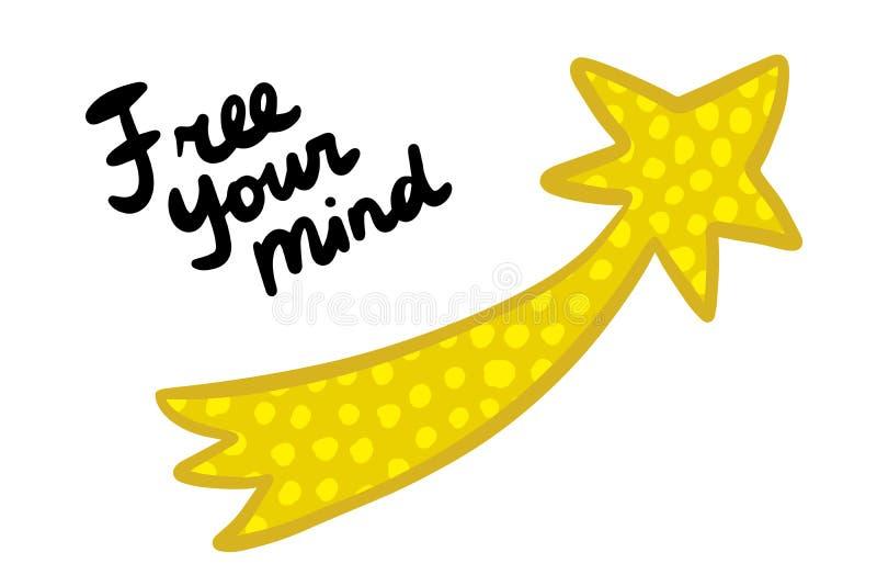 Vrij uw meningshand getrokken vectorillustratie in beeldverhaalstijl Het gele komeet van letters voorzien stock illustratie