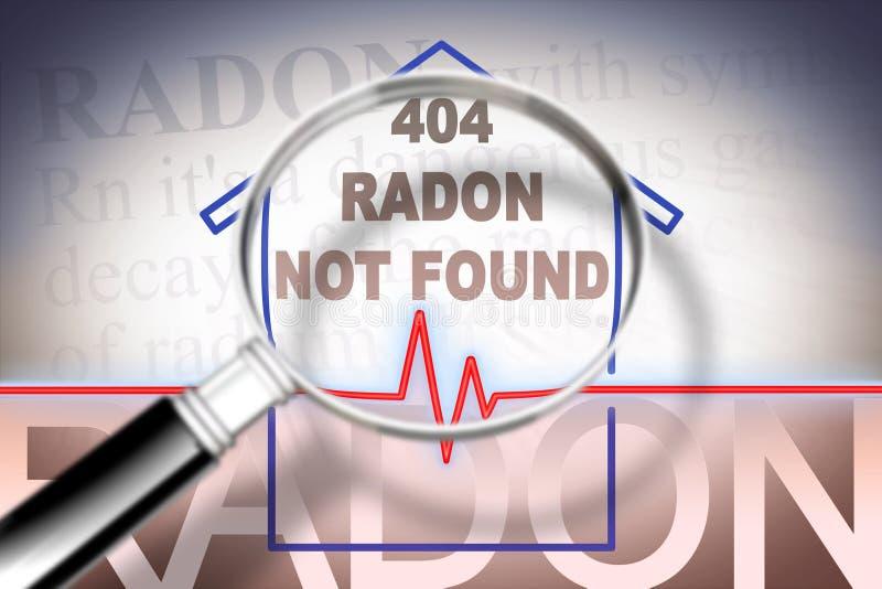 Vrij van het radongas dat niet in uw huis - conceptenbeeld met controlegrafiek over radonverontreiniging is gevonden en royalty-vrije stock fotografie