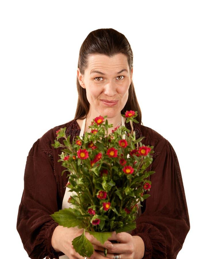 Vrij volwassen vrouw met bloemen royalty-vrije stock foto