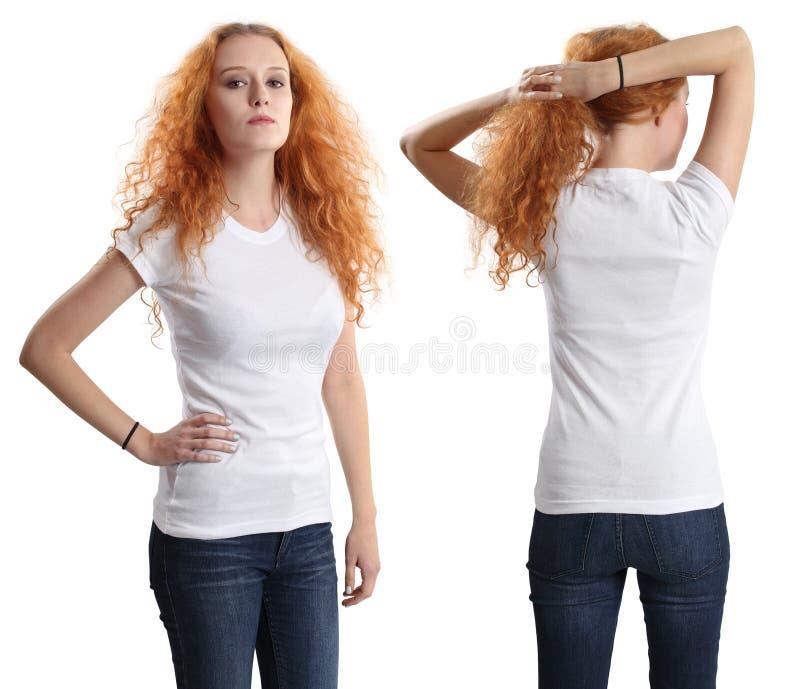 Vrij vrouwelijk dragend leeg wit overhemd royalty-vrije stock afbeelding