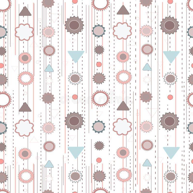 Vrij vrouwelijk naadloos patroon waarin de bloemen en geometrische elementen worden gecombineerd Retro uitstekende achtergrond in stock illustratie