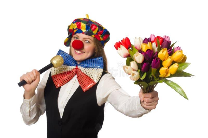 Vrij vrouwelijke clown met bloemen stock fotografie