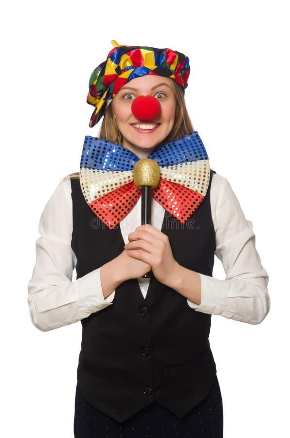 Vrij vrouwelijke clown met maracas stock afbeeldingen
