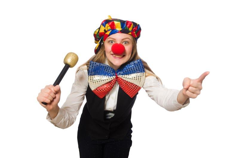Vrij vrouwelijke clown met maracas royalty-vrije stock foto's
