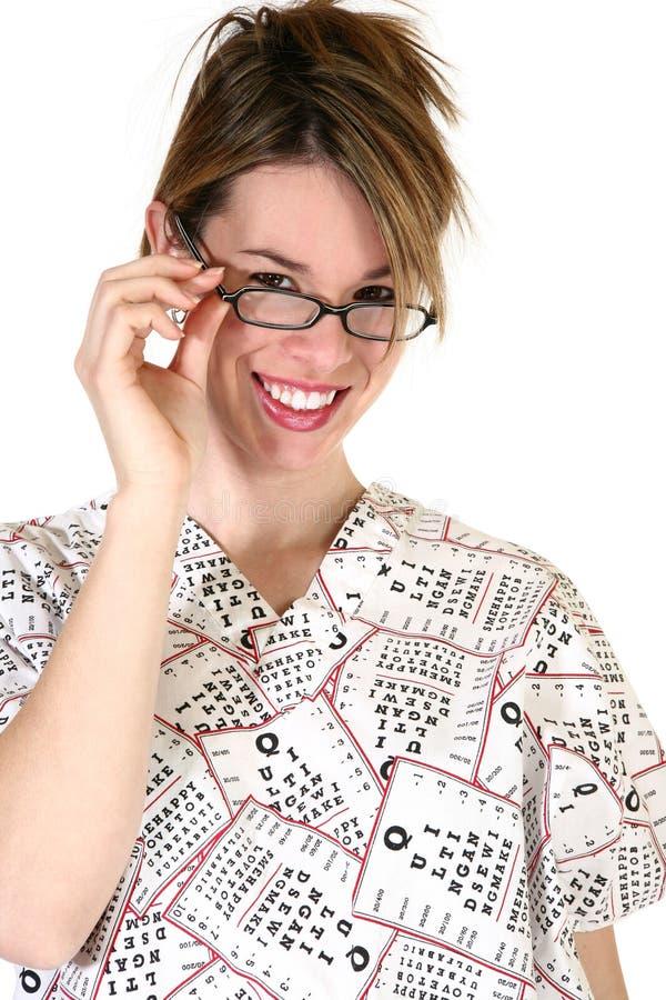 Vrij Vrouwelijke Eyedoctor stock foto