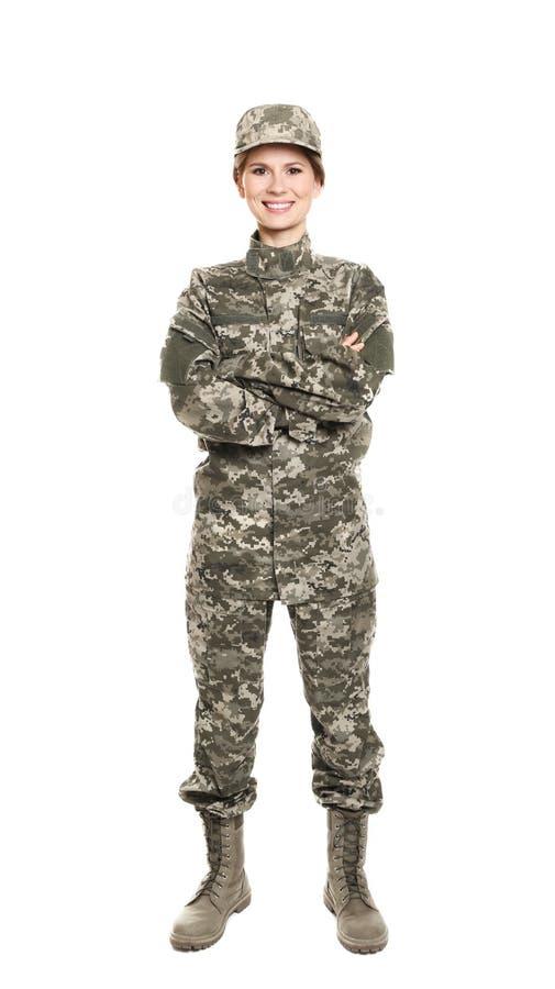 Vrij vrouwelijke militair stock afbeeldingen