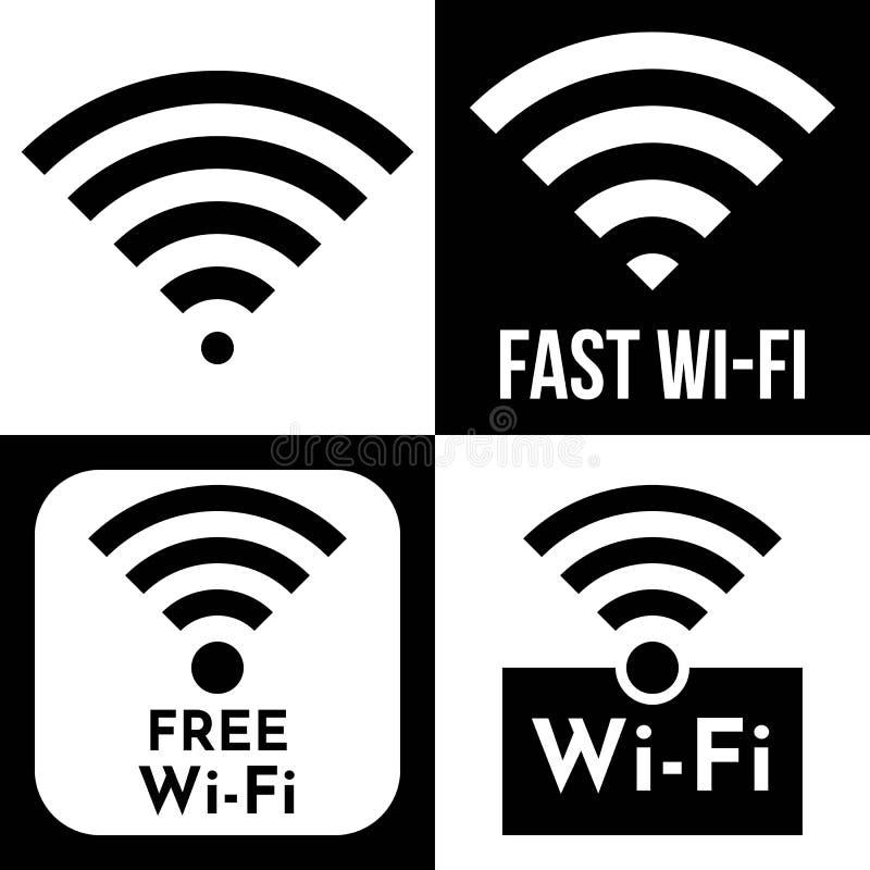 Vrij WiFi-embleempictogram, de draadloze lokale vector van het gebiedsvoorzien van een netwerk vector illustratie