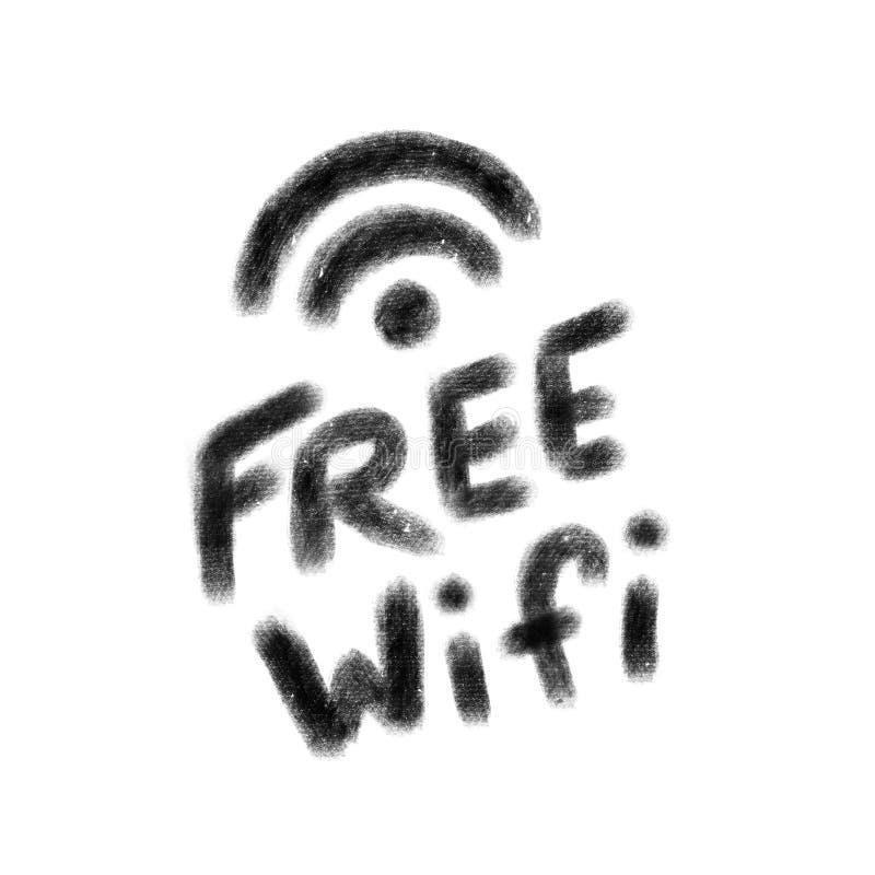 Vrij WiFi-pictogram Zwarte hand getrokken tekst op witte achtergrond royalty-vrije illustratie