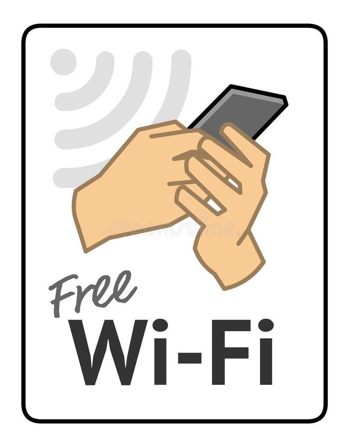 Vrij Wifi-teken Het pictogram van Wifi De Slimme Telefoon van de Holding van de hand royalty-vrije illustratie