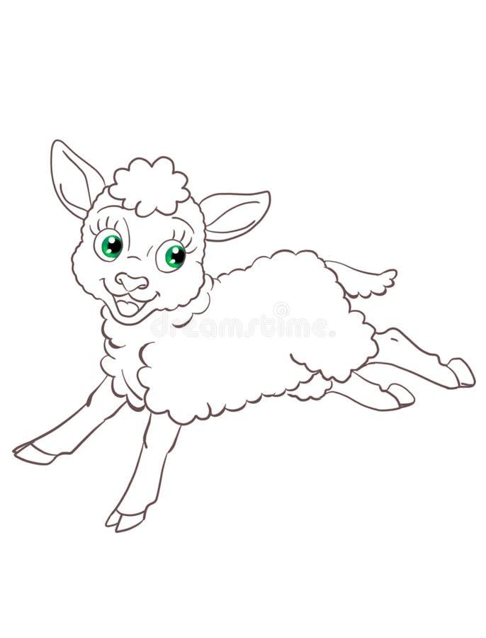 vrij zacht pluizig lam die geïsoleerde contourillustratie in werking stellen royalty-vrije illustratie