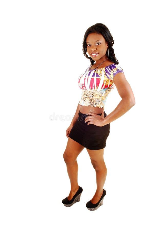Vrij zwart meisje. stock foto