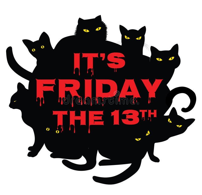 Vrijdag 13 met zwarte katten royalty-vrije illustratie