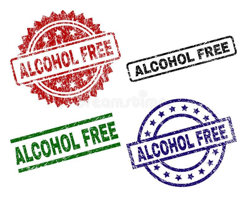 VRIJE de Zegelverbindingen van de Grunge Geweven ALCOHOL vector illustratie