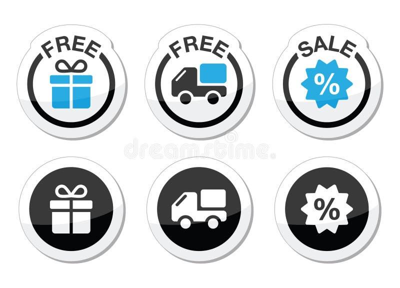 Vrije gift, vrije levering, geplaatste verkoopetiketten royalty-vrije illustratie