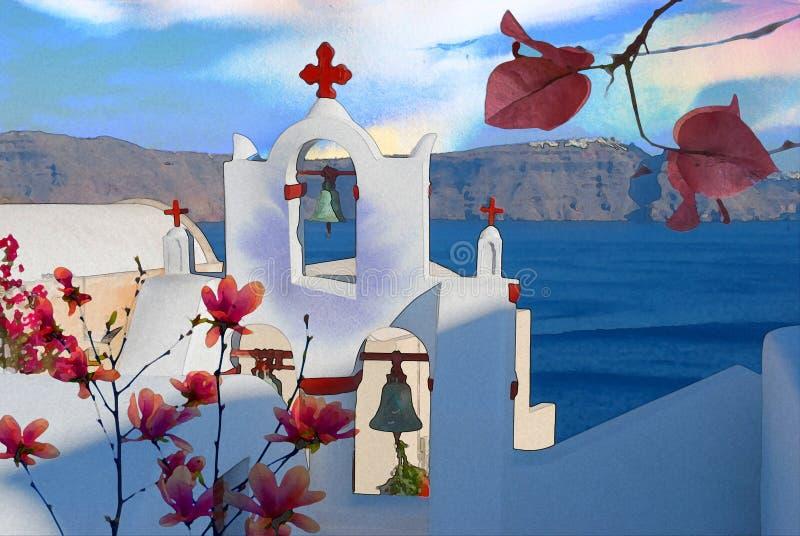 Vrije het document van de Waterverf van Griekenland stock illustratie