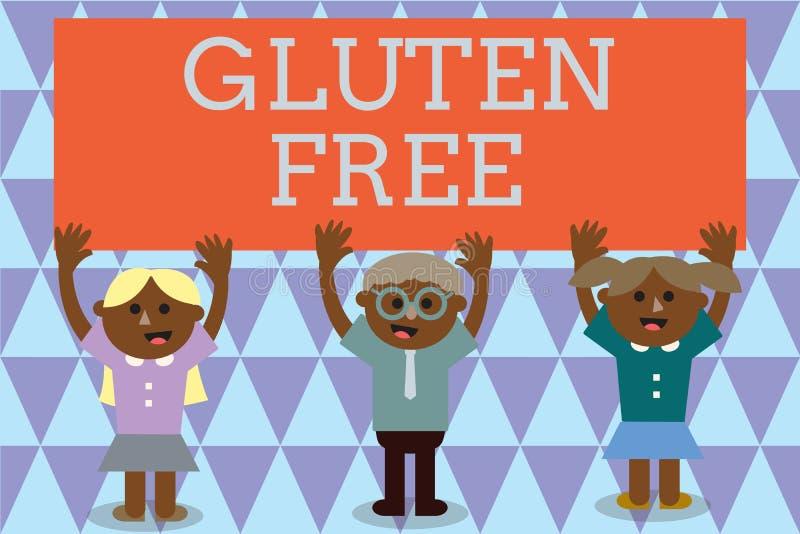 Vrije het Gluten van de handschrifttekst Concept Voedsel betekenen en dieet die die geen proteïne bevatten in korrels en tarwe wo vector illustratie