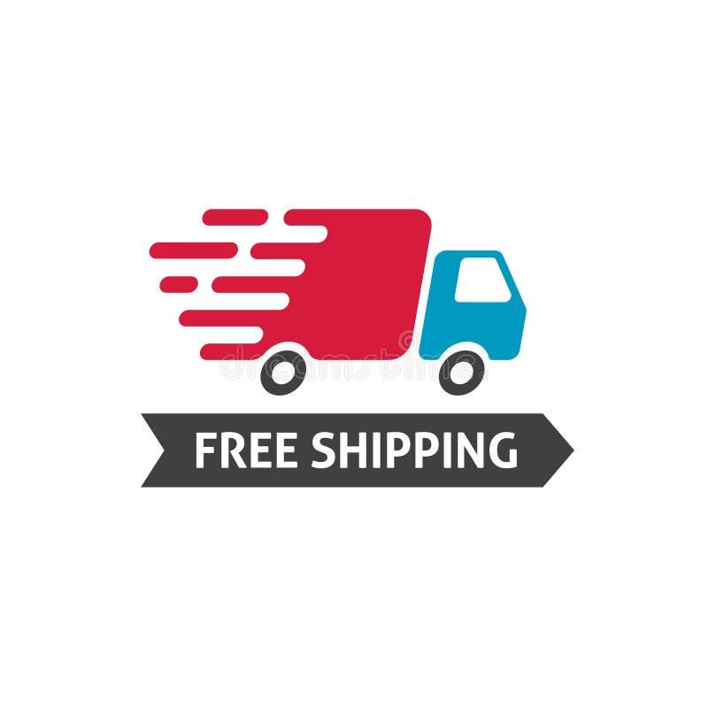 Vrije het verschepen pictogramvector, vrachtwagen die snel en vrij verschepend tekstetiket, snel die leveringskenteken bewegen op royalty-vrije illustratie