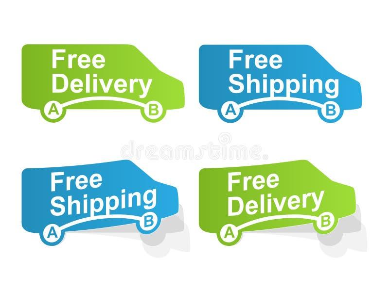 Vrije levering en Vrije verschepende etiketten stock illustratie