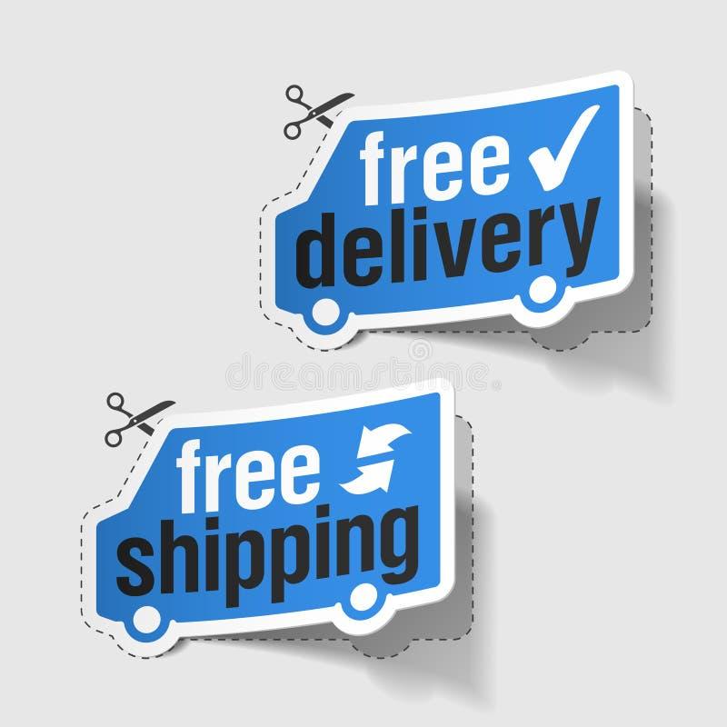 Vrije levering, vrije verschepende etiketten royalty-vrije illustratie