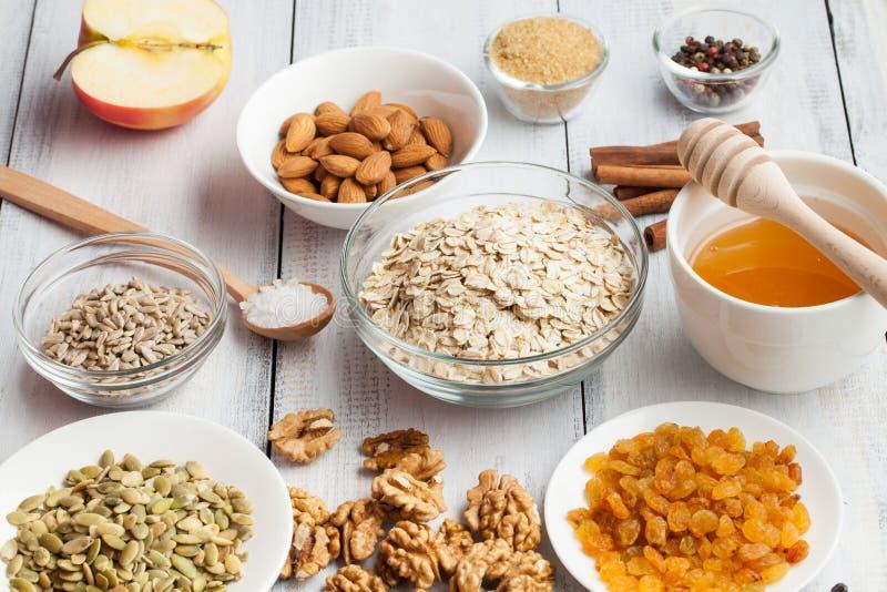 Vrije paleogranola van de korrel vrije haver: gemengde noten, zaden, rozijnen, h royalty-vrije stock fotografie