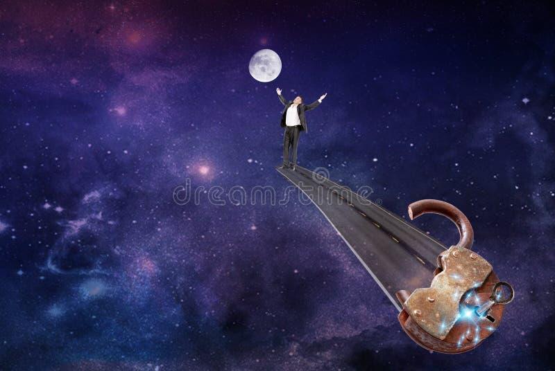 vrije route op een maan Concept stock foto