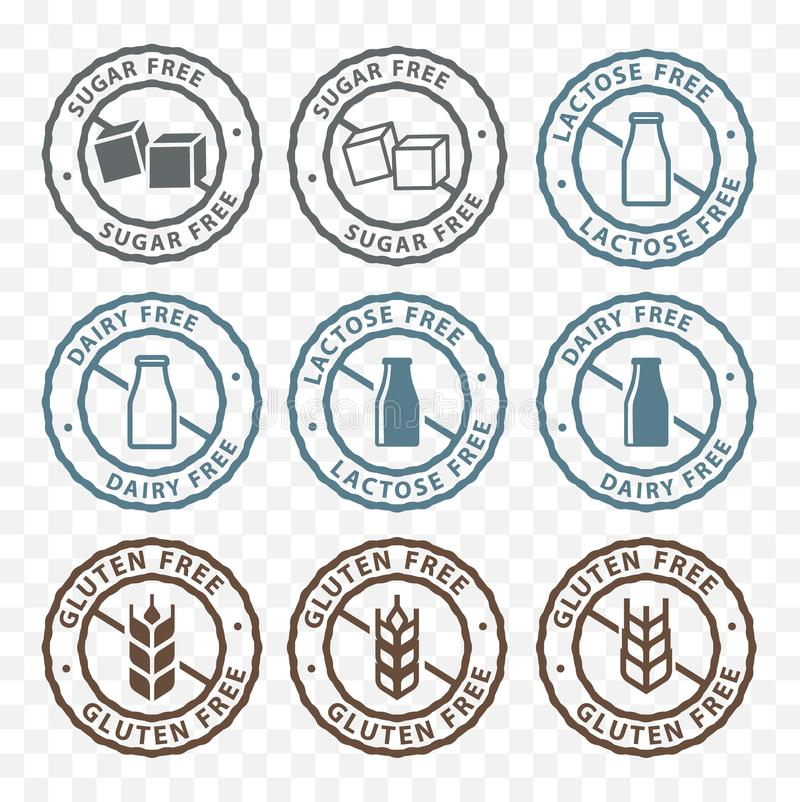 Vrije suiker, vrije lactose, het etiketpictogrammen van de gluten vrije verpakkende sticker stock illustratie