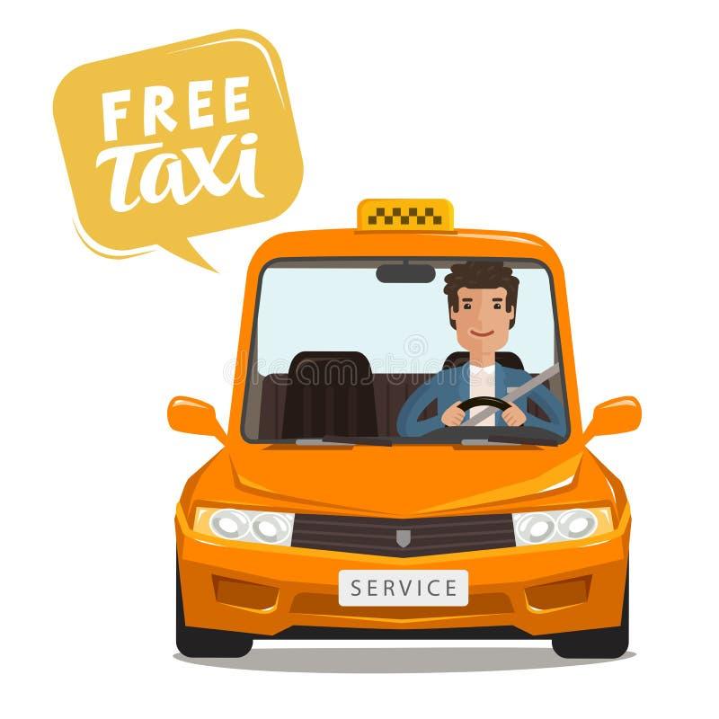 Vrije taxi, concept De gelukkige bestuurder berijdt een auto De vectorillustratie van het beeldverhaal stock illustratie