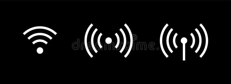 Vrije WiFi ge?soleerde embleemradio Vastgestelde vectorpictogrammen stock illustratie