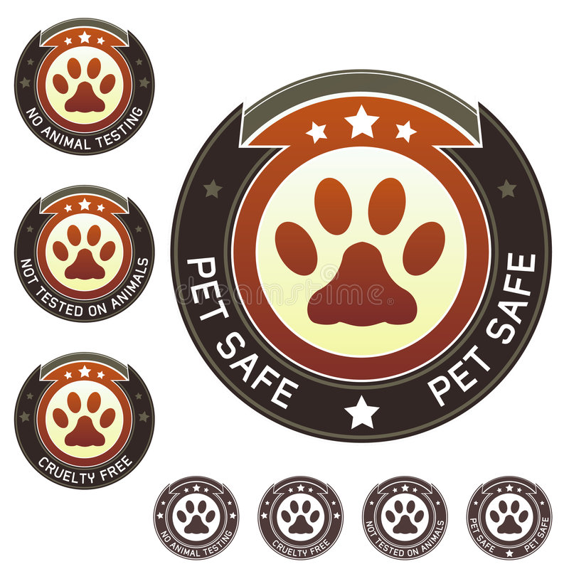 Vrije wreedheid en etiketten van het huisdieren de veilige product vector illustratie