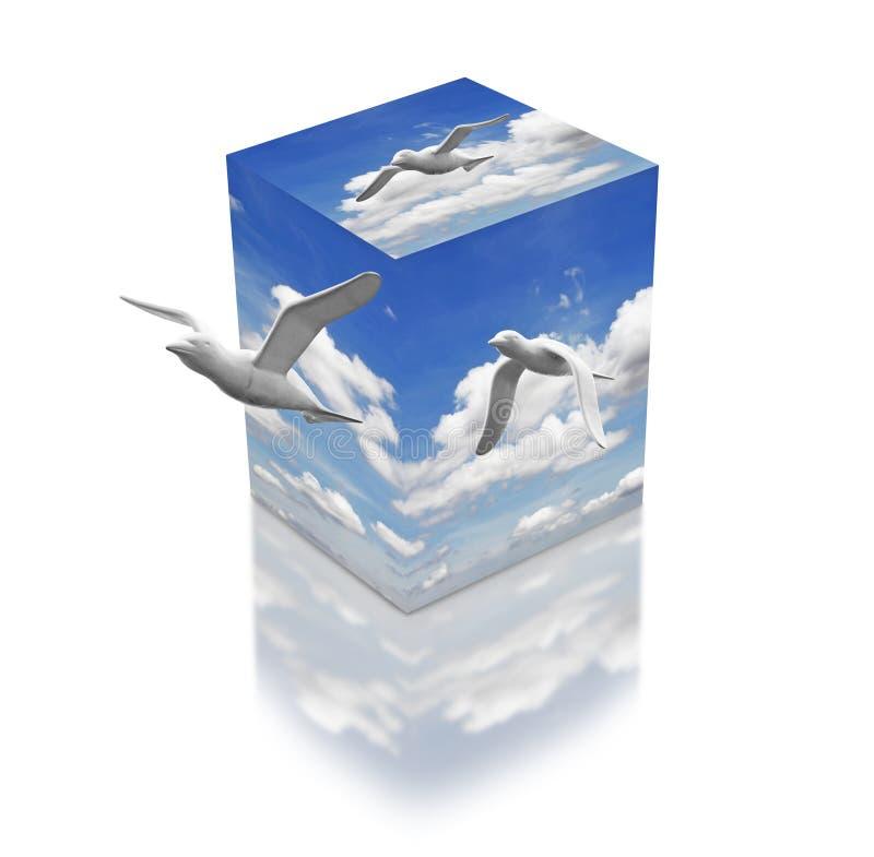 Vrijheid in een doos. vector illustratie