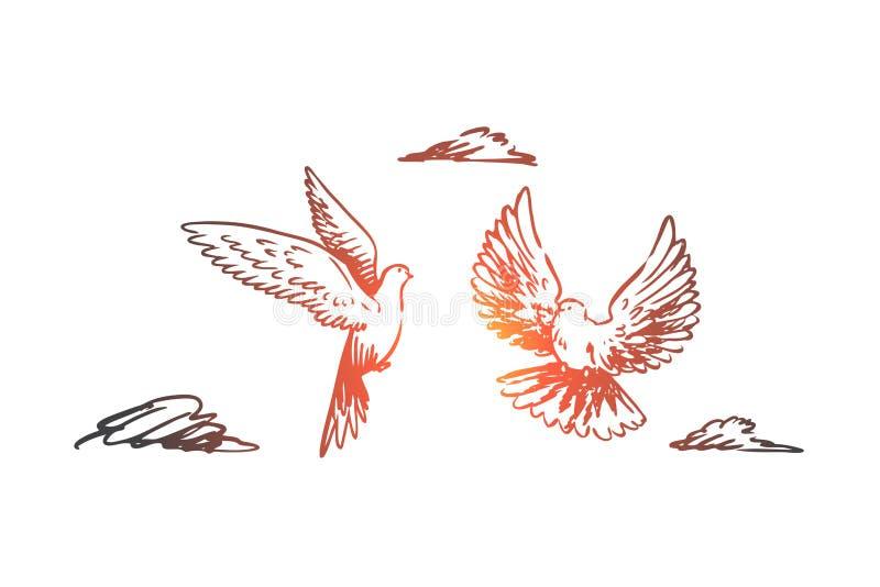 Vrijheid, vrede, paar, vlucht, vogelsconcept Hand getrokken geïsoleerde vector vector illustratie