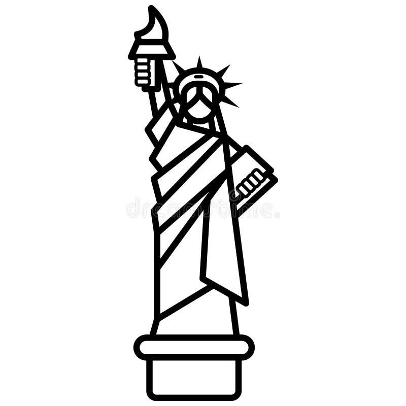Vrijheidsstandbeeld, vector de lijnpictogram van New York, teken, illustratie op achtergrond, editable slagen stock illustratie